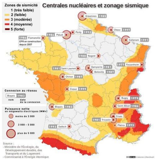 Carte de répartition des centrales nucléaires en France, et des zones sismiques