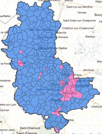 Le Rhône au Second Tour de l'élection 2012