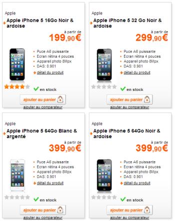 Prix iPhone 5 chez Orange en fonction de la mémoire interne