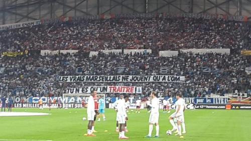 Olympico #OMOL Véldrome Valbuena banderolle supporters Lyon Marseille